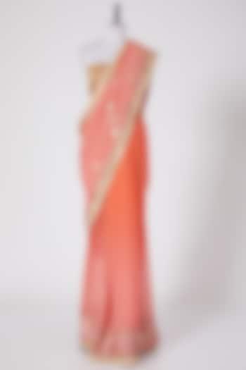 Light Pink & Peach Embroidered Saree Set by Swati Jain