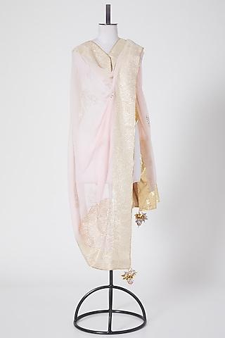 Light Pink Dupatta Having Gota Work by Swati Jain