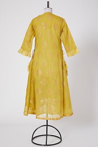 Yellow Organza High-Low Kurta by Swati Jain