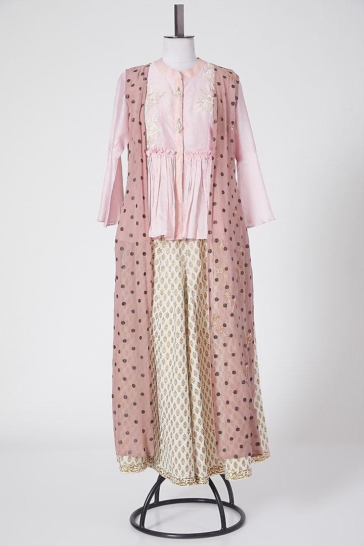 Pink & Cream Printed Pant Set by Swati Jain