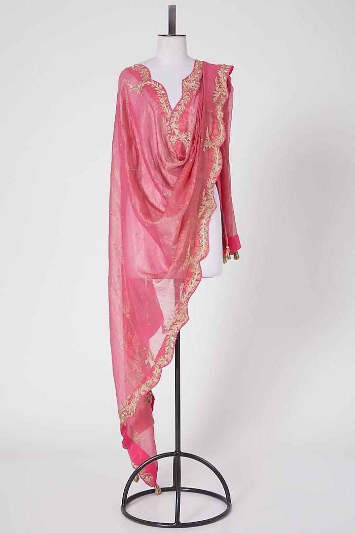 Pink Embroidered Dupatta by Swati Jain
