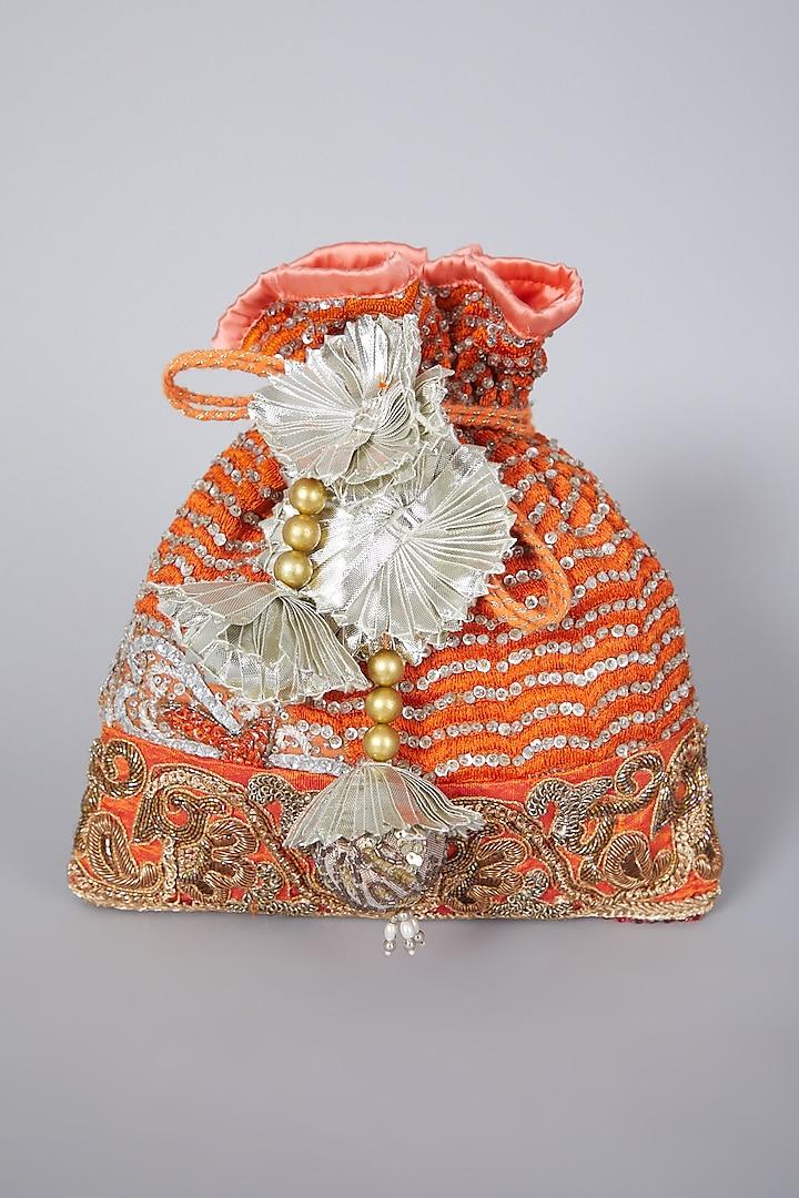 Orange Embroidered Potli Bag by Swati Jain
