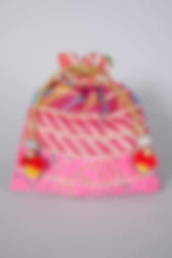 Pink Embroidered Potli Bag by Swati Jain