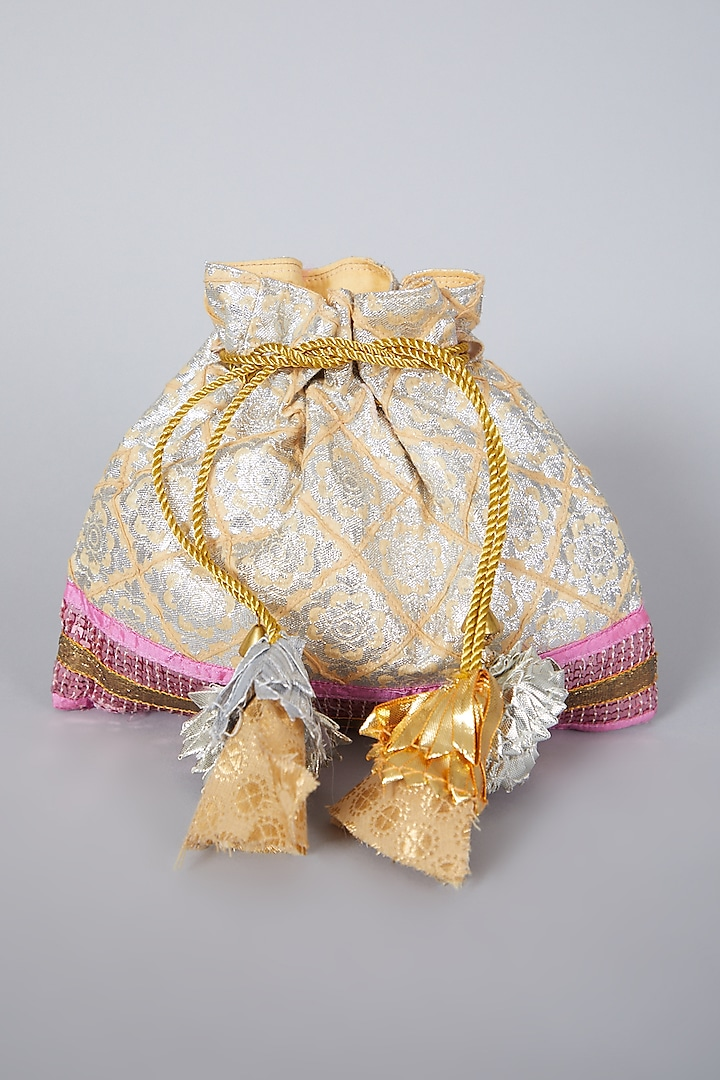 Golden Embroidered Potli Bag by Swati Jain
