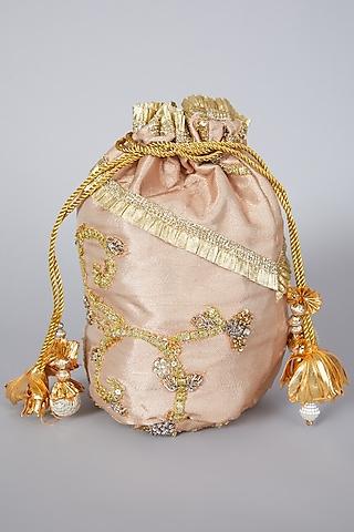 Golden Tissue Potli Bag by Swati Jain