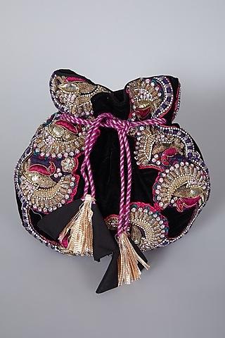 Black Embroidered Potli Bag by Swati Jain