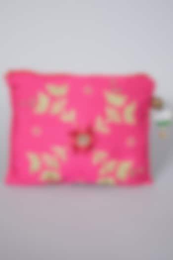 Pink Raw Silk Embroidered Bag by Swati Jain