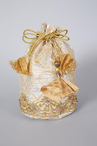 Golden Tissue Embroidered Potli Bag by Swati Jain