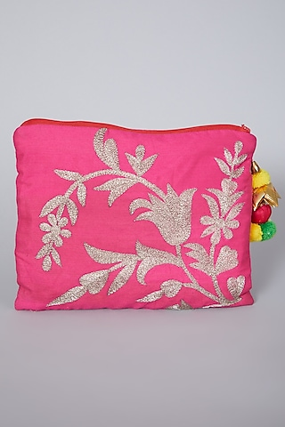 Pink Bag With Embroidery by Swati Jain