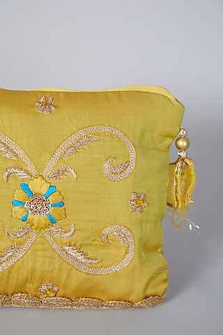 Yellow Embroidered Bag by Swati Jain