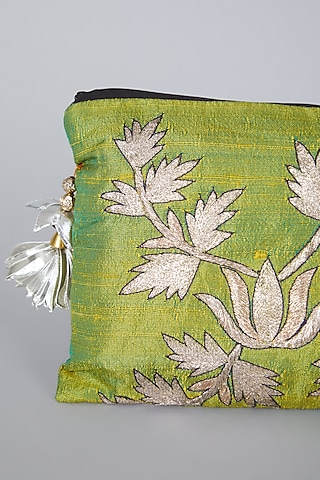 Green Embroidered Bag by Swati Jain
