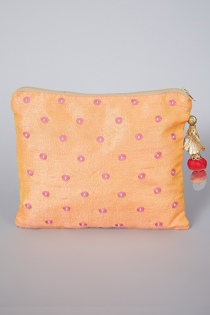 Peach Bag With Embroidery by Swati Jain
