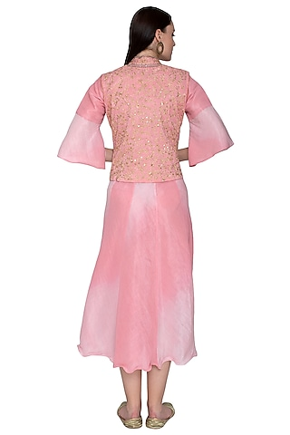 Blush Pink Embroidered Jacket Kurta With Dupatta by Swati Jain