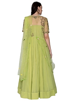 Olive Green Embroidered Anarkali With Dupatta by Swati Jain
