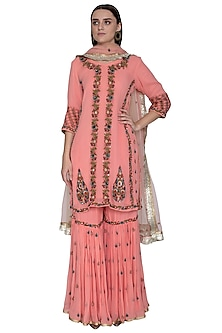 Pink Embroidered Sharara Set by Swati Jain-READY TO SHIP