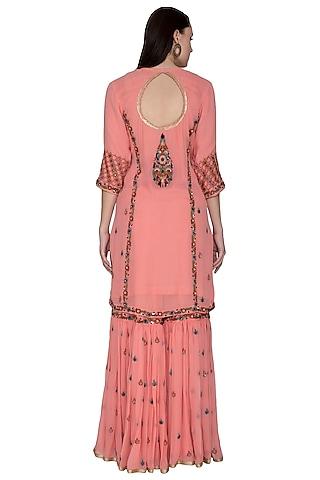 Pink Embroidered Sharara Set by Swati Jain