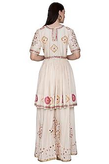 Off White Mirror Embroidered Sharara Set by Swati Jain