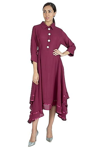 Wine Asymmetric Pleated & Embroidered Dress by Swati Jain