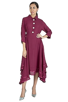 Wine High-Low Dress by Swati Jain