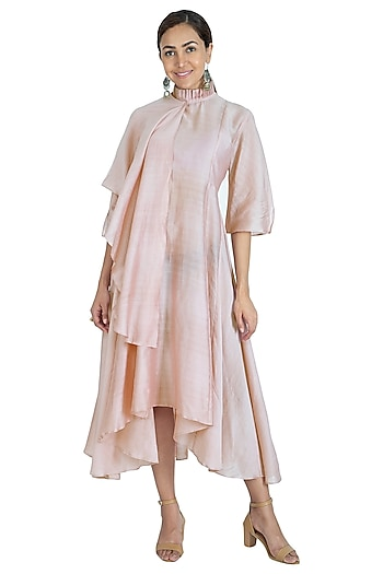 Pink Asymmetric Midi Dress by Swati Jain