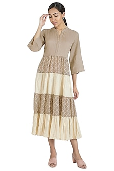 Beige Tiered Dress by Swati Jain