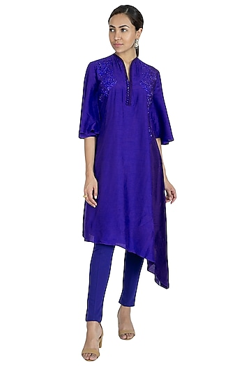Midnight Blue Embroidered Kurta With Pants by Swati Jain