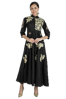 Black Embroidered Anarkali With Pants by Swati Jain