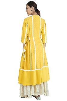 Yellow A-Line Kurta With Sharara Pants by Swati Jain