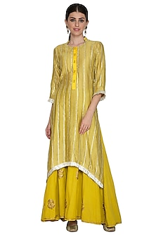 Mustard Yellow Embellished Kurta With Sharara Pants by Swati Jain