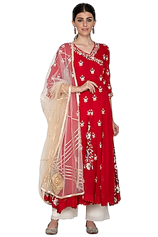 Red Embroidered Anarkali With Dupatta by Swati Jain