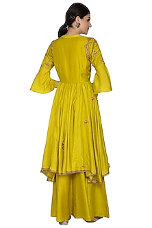 Lemon Yellow Embroidered Sharara Set by Swati Jain