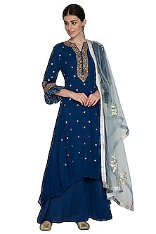 Cobalt Blue Embroidered Sharara Set by Swati Jain-READY TO SHIP