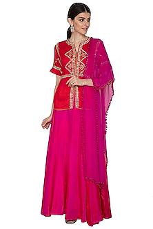Red & Fuchsia Embroidered Lehenga Set by Swati Jain