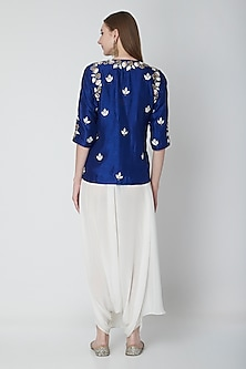 Cobalt Blue Embroidered Top With White Dhoti Pants by Swati Jain