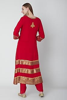 Red Embroidered Kurta Set by Swati Jain