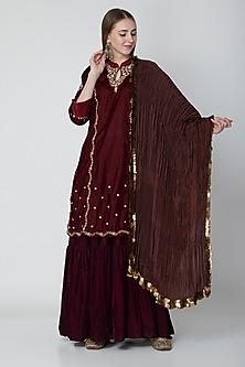Maroon Embroidered Kurta & Skirt Set by Swati Jain
