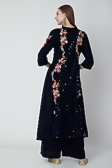 Navy Blue Embroidered Kurta & Palazzo Set by Swati Jain