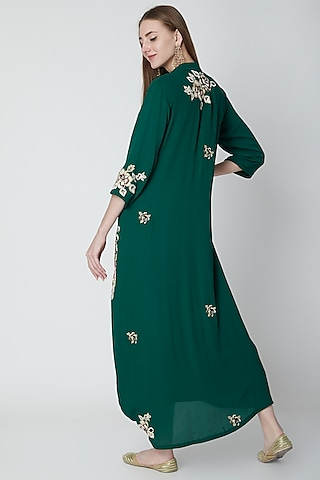 Bottle Green Embroidered Cowl Dress With Slip & Dupatta by Swati Jain