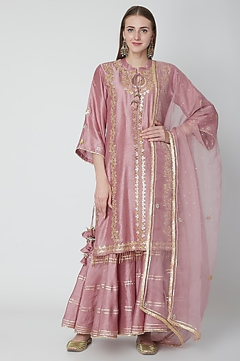 Blush Pink Embroidered Kurta Sharara Set by Swati Jain