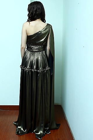 Gold One Shoulder Draped Gown by Swatee Singh