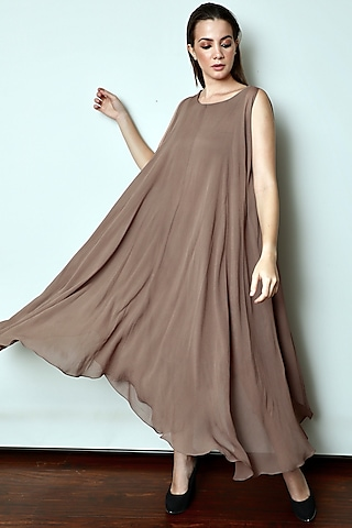 Brown Draped Maxi Dress by Swatee Singh