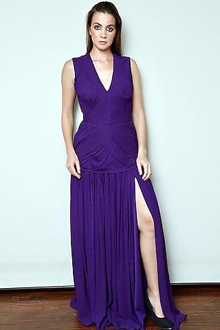 Purple Pleated Gown by Swatee Singh