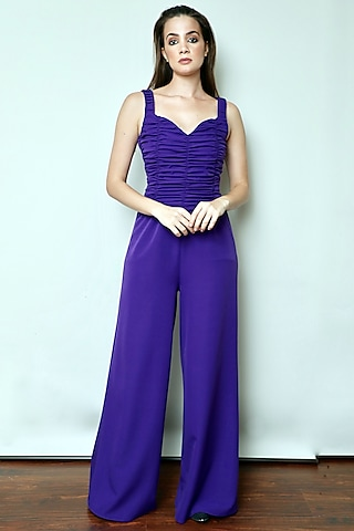 Purple Gathered Jumpsuit by Swatee Singh