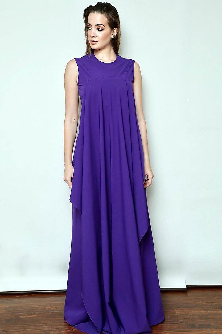 Purple Draped Jumpsuit by Swatee Singh