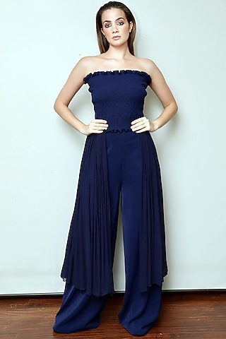 Midnight Blue Draped Jumpsuit by Swatee Singh