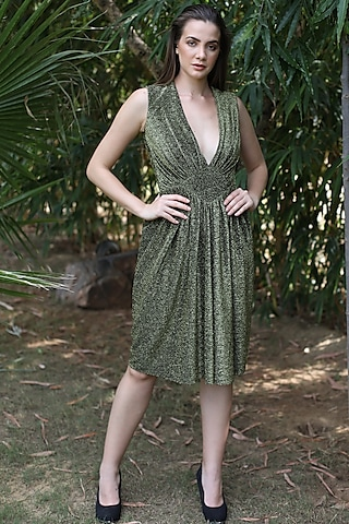 Gold V-Neck Dress by Swatee Singh