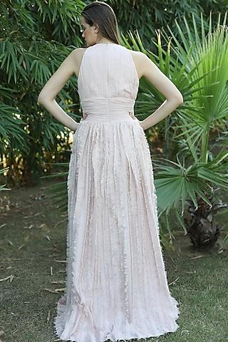 Blush Pink Halter Neck Gown by Swatee Singh