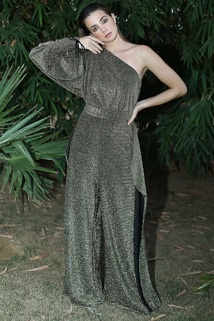 Gold One Shoulder Jumpsuit by Swatee Singh