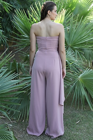 Blush Pink Draped Jumpsuit by Swatee Singh