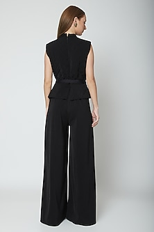Black Jumpsuit With Waist Belt by Swatee Singh